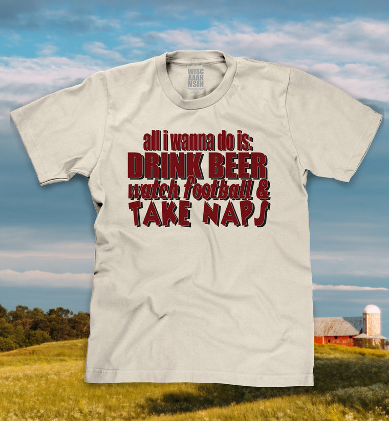 drink beer watch football take naps t-shirt photo