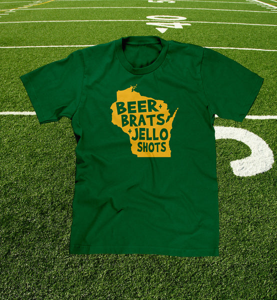 funny wisconsin t-shirt in tundra green