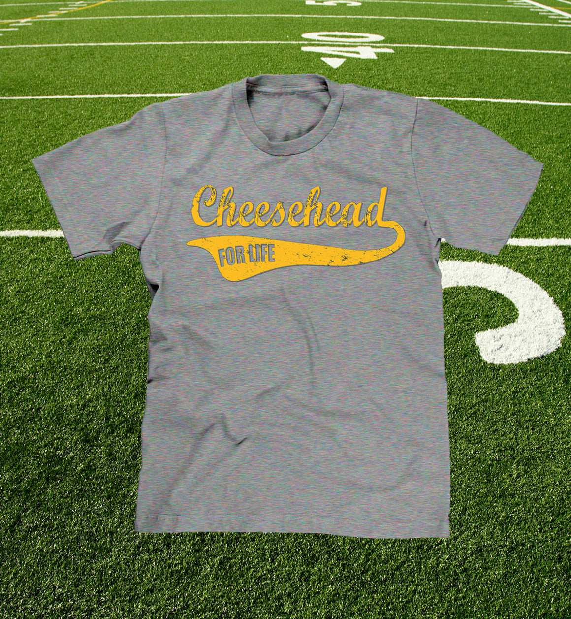 mens and youth cheesehead for life t-shirt in heather grey
