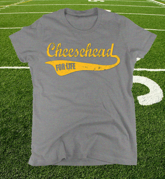 "womens ""cheesehead for life"" t-shirt in heather grey"