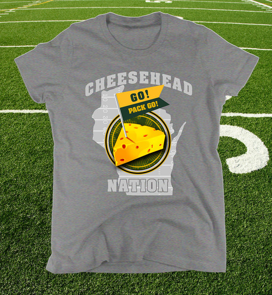 "ladies ""cheesehead nation"" tee in heather grey"
