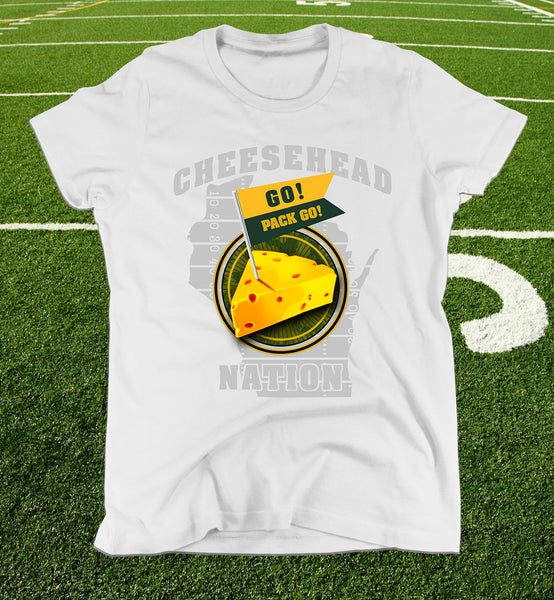 ladies cheesehead nation tee in white