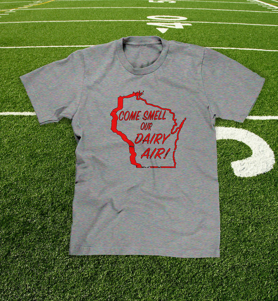 """come smell our dairy air"" mens and youth grey t-shirt"