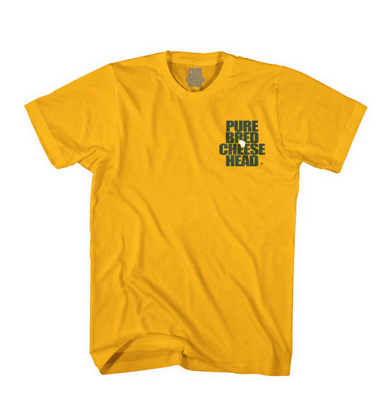 front view of green bay gold purebred cheesehead™ tee