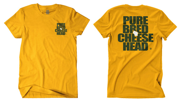 front and back view of unisex gold purebred cheesehead™ tee