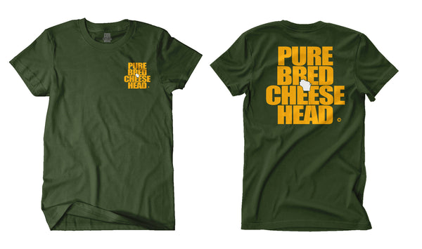 front and back view of tundra green cheesehead tee