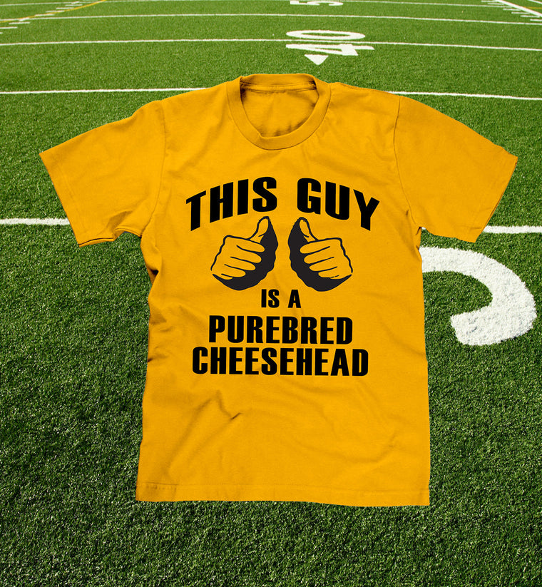 """this guy is a purebred cheesehead™"" t-shirt in green bay gold"
