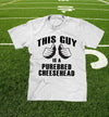"""this guy is a purebred cheesehead™"" t-shirt in windchill white"