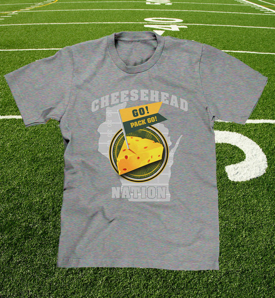 "mens and youth ""cheesehead nation"" tee in grey"