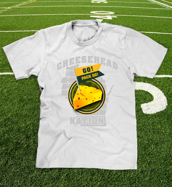 """cheesehead nation"" t-shirt in white for men and youth"