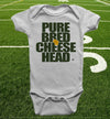 purebred cheesehead™ infant onesie in windchill white