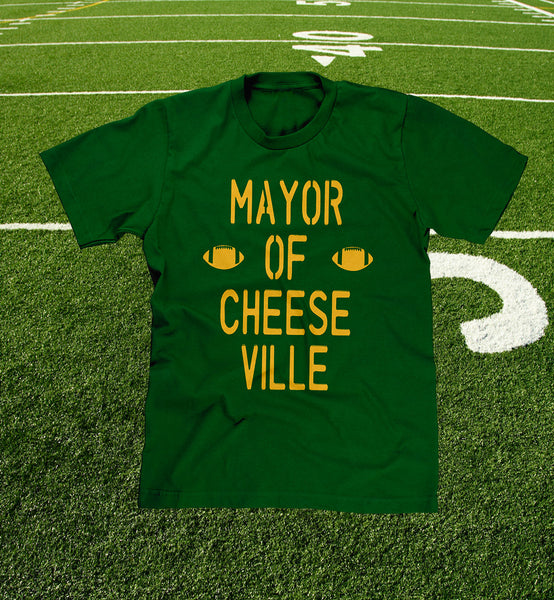 "funny ""mayor of cheeseville"" green bay packer fan t-shirt"