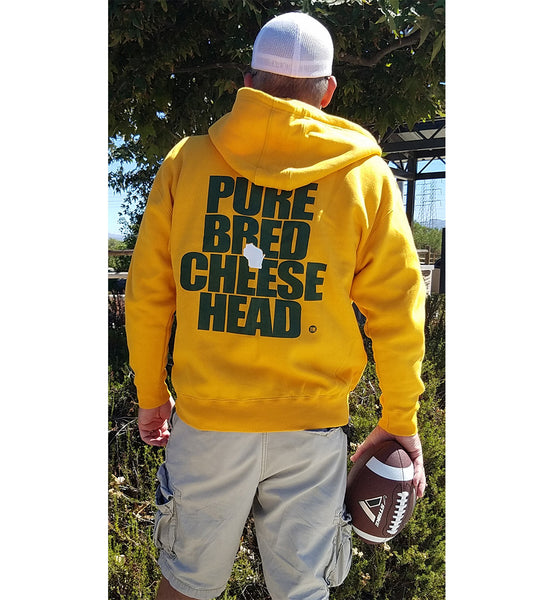 purebred cheesehead™ zip-up hoodie back view