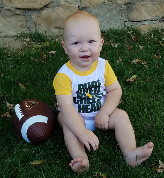 purebred cheesehead™ raglan infant bodysuit