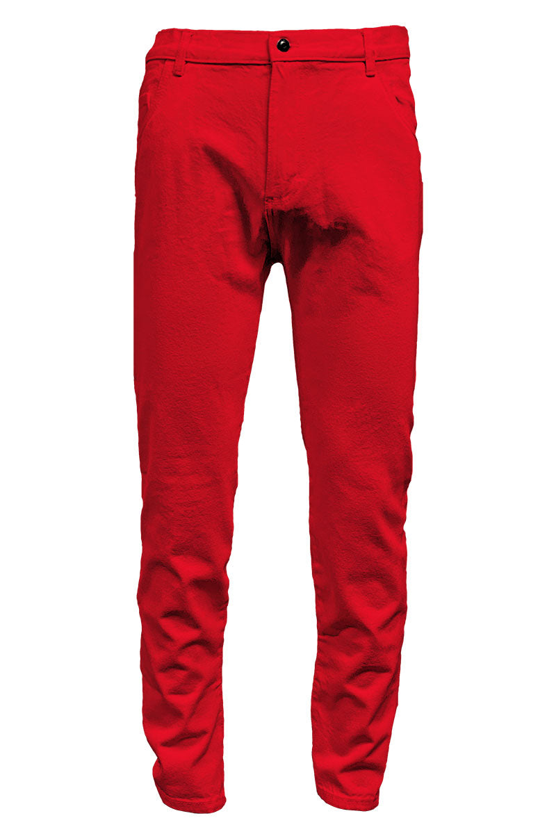 Red Slim Tapered Jeans