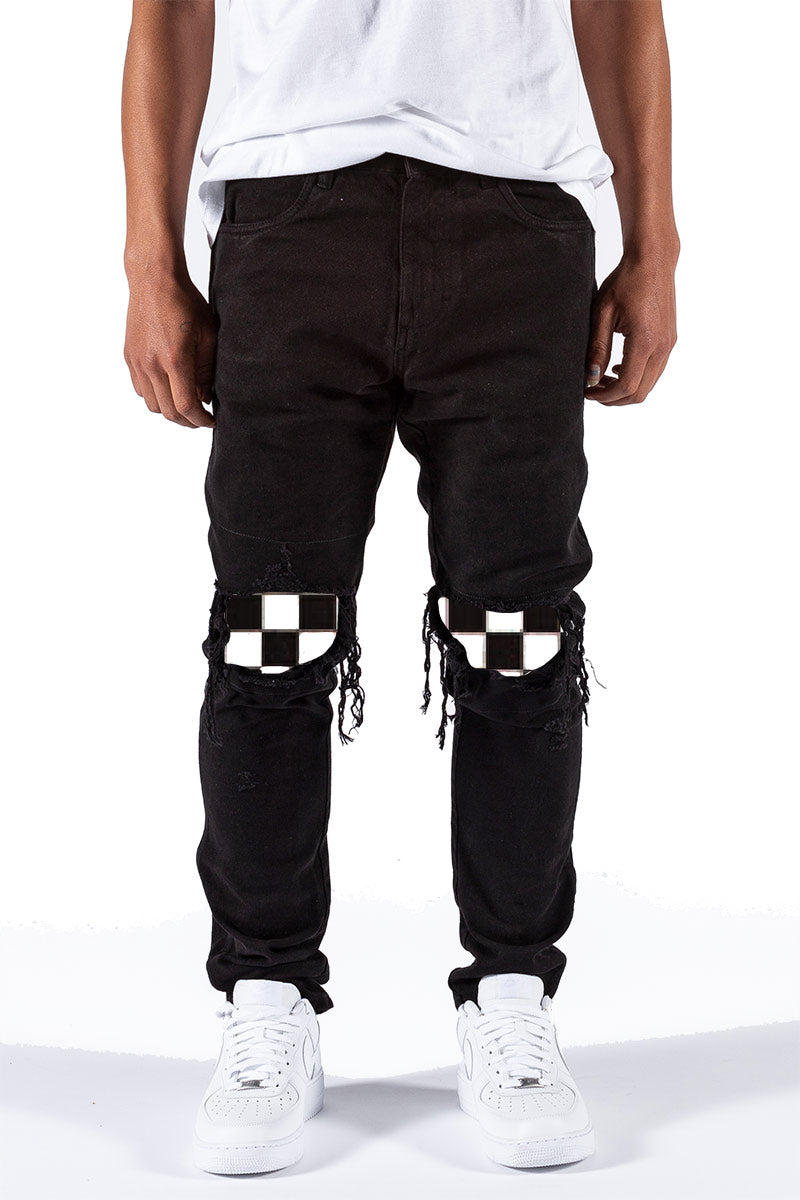 PREORDER Black Ripped Checker Patched Jeans
