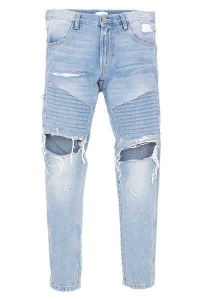 Ripped Patched Vintage Indigo Biker Jeans