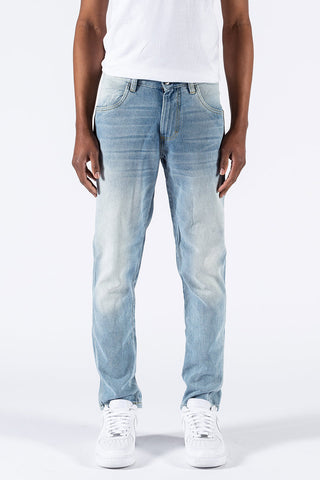 Faded Indigo Tapered Jeans