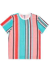 Teal Salmon Vertical Stripe Tee