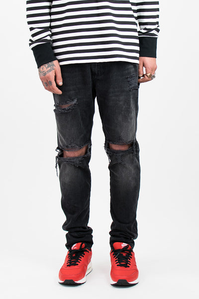 Vintage Black Ripped Denim Jeans