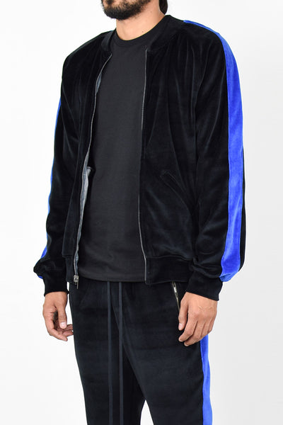 Black Velour Blue Stripe Bomber Jacket