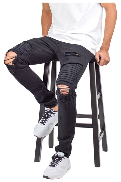ffa96a82 Black Ripped Patched Biker Jeans | Enslaved® Clothing
