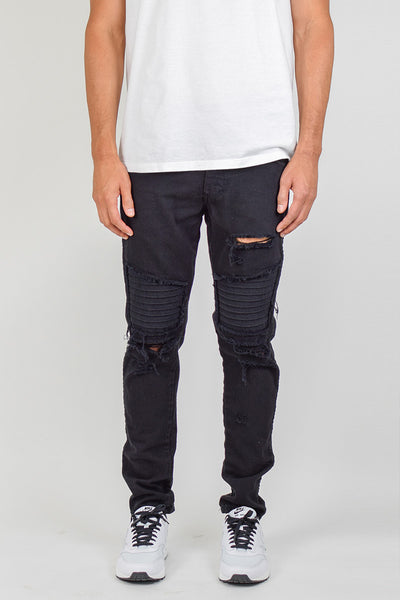 Black Ripped Patched Biker Jeans