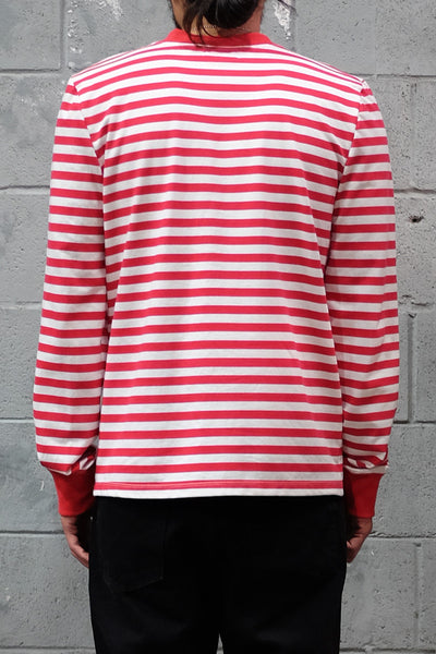 Red White Stripe Long Sleeve Crewneck