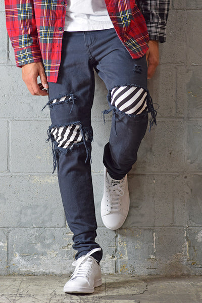 PREORDER Black Stripe Patched Jeans