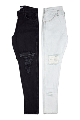 2 Pack / Ripped Tapered Jeans Bleached + Black