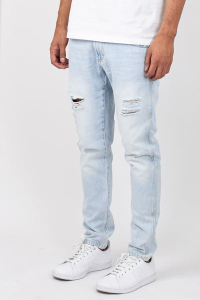 Light Stonewashed Ripped Tapered Jeans