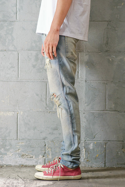 Light Indigo Dirty Ripped Jeans