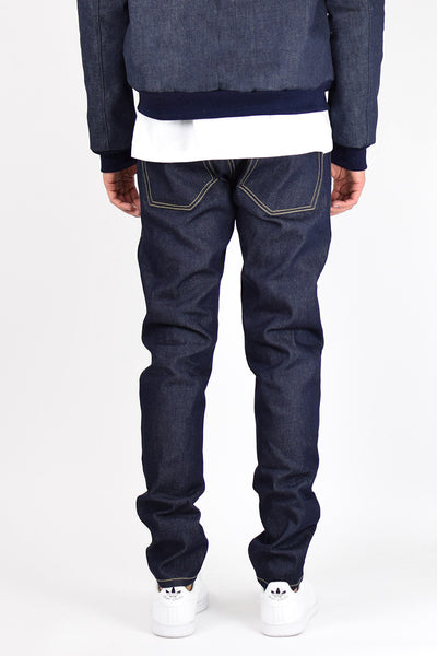 Dark Indigo Tapered Raw Denim Jeans