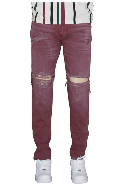 Vintage Burgundy Ripped Tapered Jeans