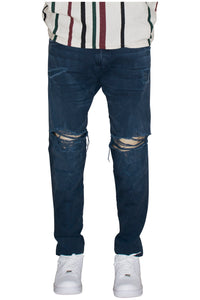 Vintage Navy Ripped Tapered Jeans