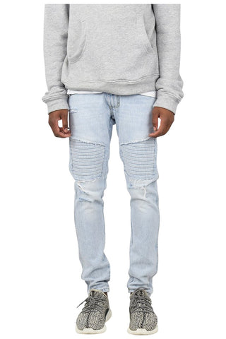 Stonewashed Ripped Patched Biker Jeans