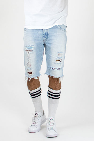 Light Stonewashed Ripped Jean Shorts