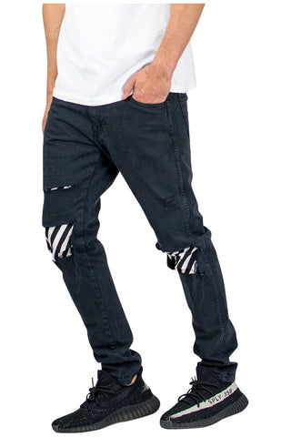 Black Stripe Patched Jeans