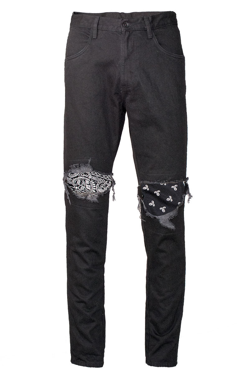 PREORDER Black Ripped Bandana Patched Jeans