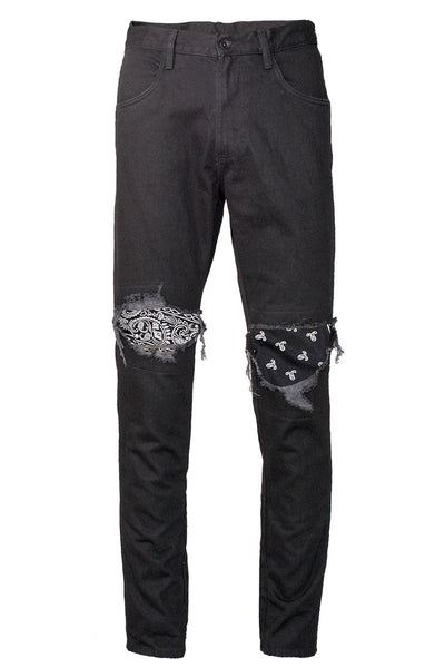 ec8e5ee2 Black Ripped Bandana Patched Jeans | Enslaved® Clothing
