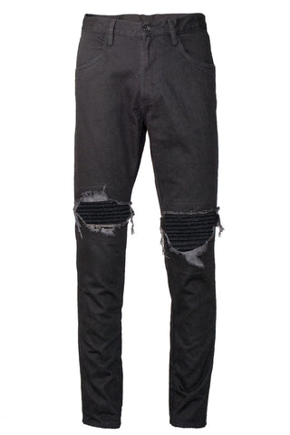 Black Moto Patched Jeans