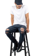 Black Ripped Tapered Denim Jeans