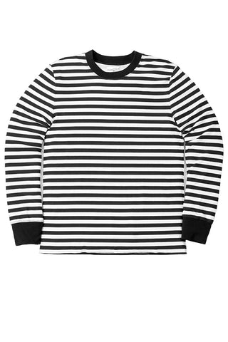 Black White Stripe Long Sleeve Crewneck