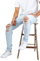 Bleached Indigo Ripped Tapered Denim Jeans