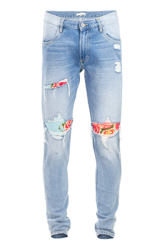 Floral Patch Vintage Ripped Jeans