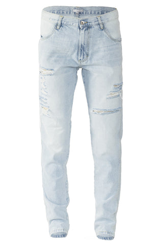 Big & Tall Light Stonewashed Ripped Tapered Jeans