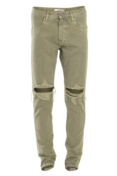 Bleached Olive Ripped Tapered Denim Jeans