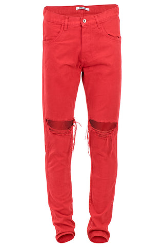 Red Ripped Tapered Jeans
