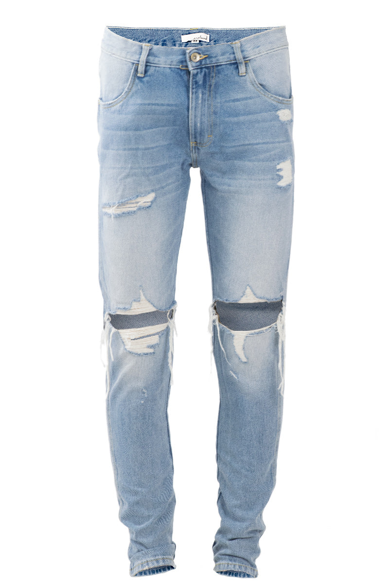 Vintage Indigo Ripped Denim Jeans