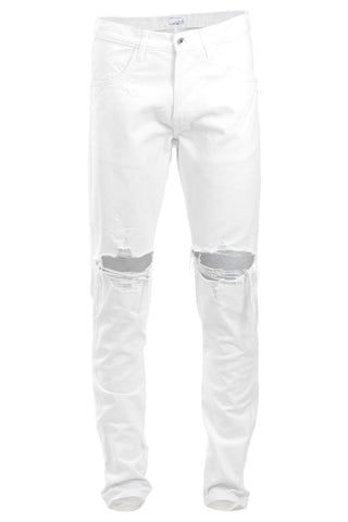 White Ripped Tapered Jeans